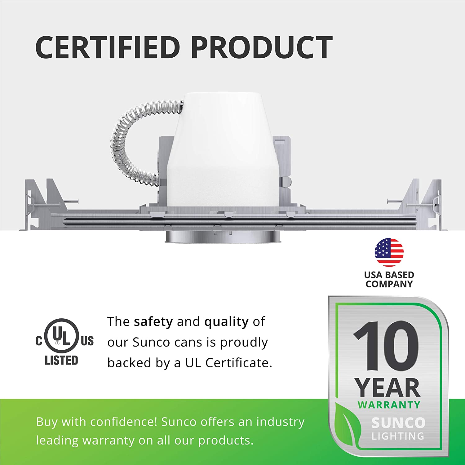Air Tight IC Rated Steel Can UL /& Title 24 Compliant TP24 Connector Included for Easy Install 120-277V Sunco Lighting 6 Pack 4 Inch New Construction Housing