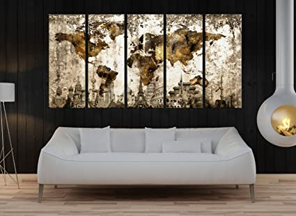 Amazon.com: Large World Map Canvas set For large wall decor, brown ...