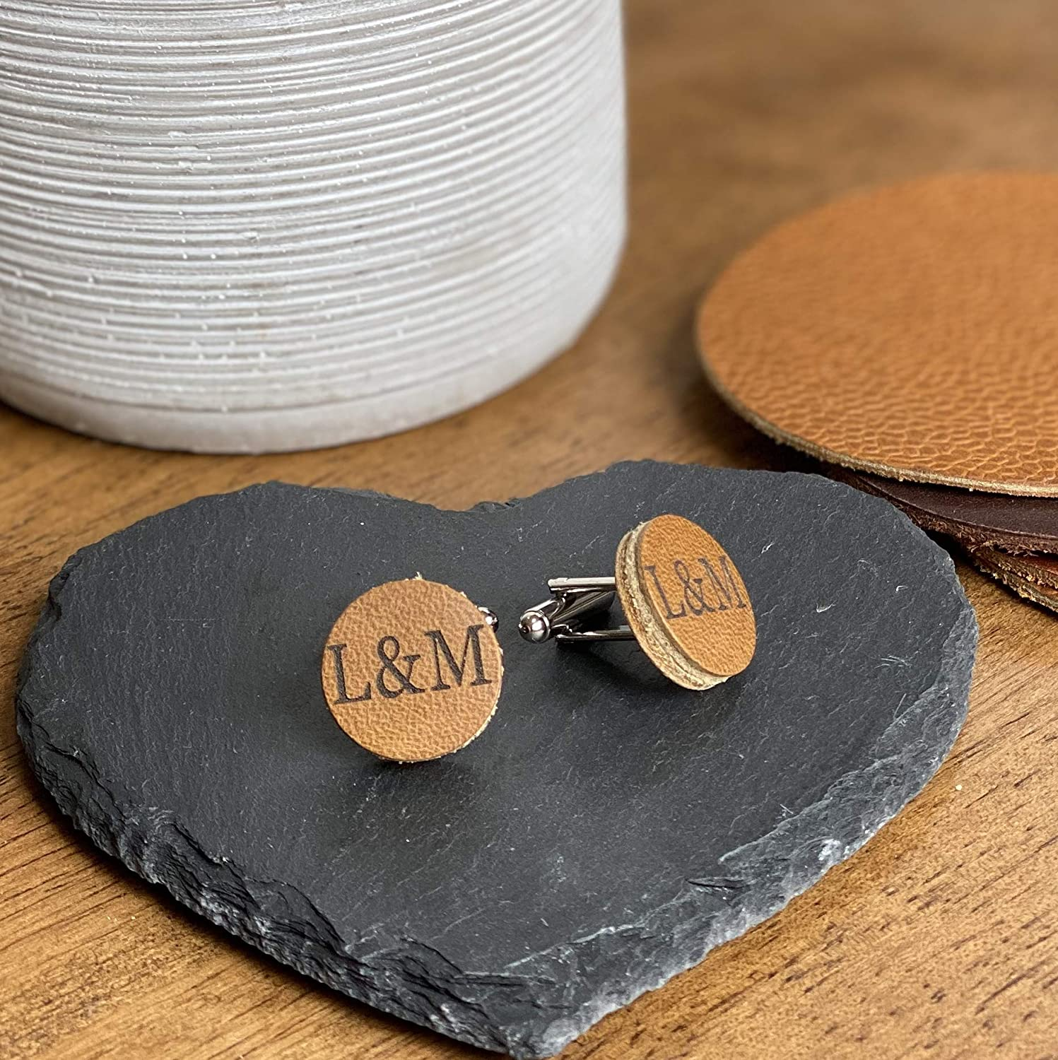 Personalised Hand Made Cufflinks Genuine Sand Dune Genuine Leather Cufflinks Third 3rd Anniversary Gift Wedding Groom Amazon Co Uk Handmade