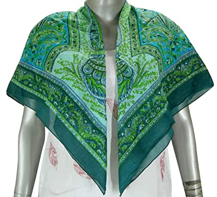687e72174f534 Women Head Scarf Printed Square Cotton Scarves Indian Clothing (99 x 99  cm)  Amazon.co.uk  Clothing