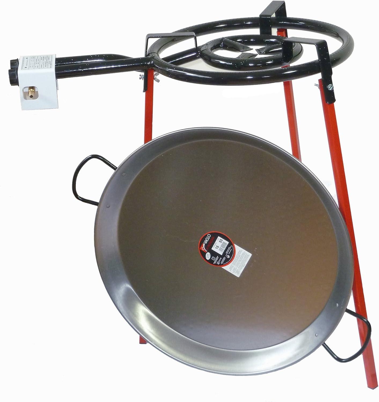Batería de cocina Paella - 400 mm doble quemador con 60 cm paellera de acero pulido
