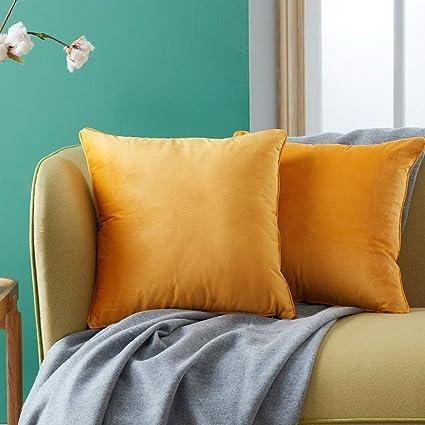 Topfinel juego 2 Hogar cojín terciopelo Decorativa Almohadas Fundas color sólido Para Sala de Estar sofás 45x45cm Amarillo