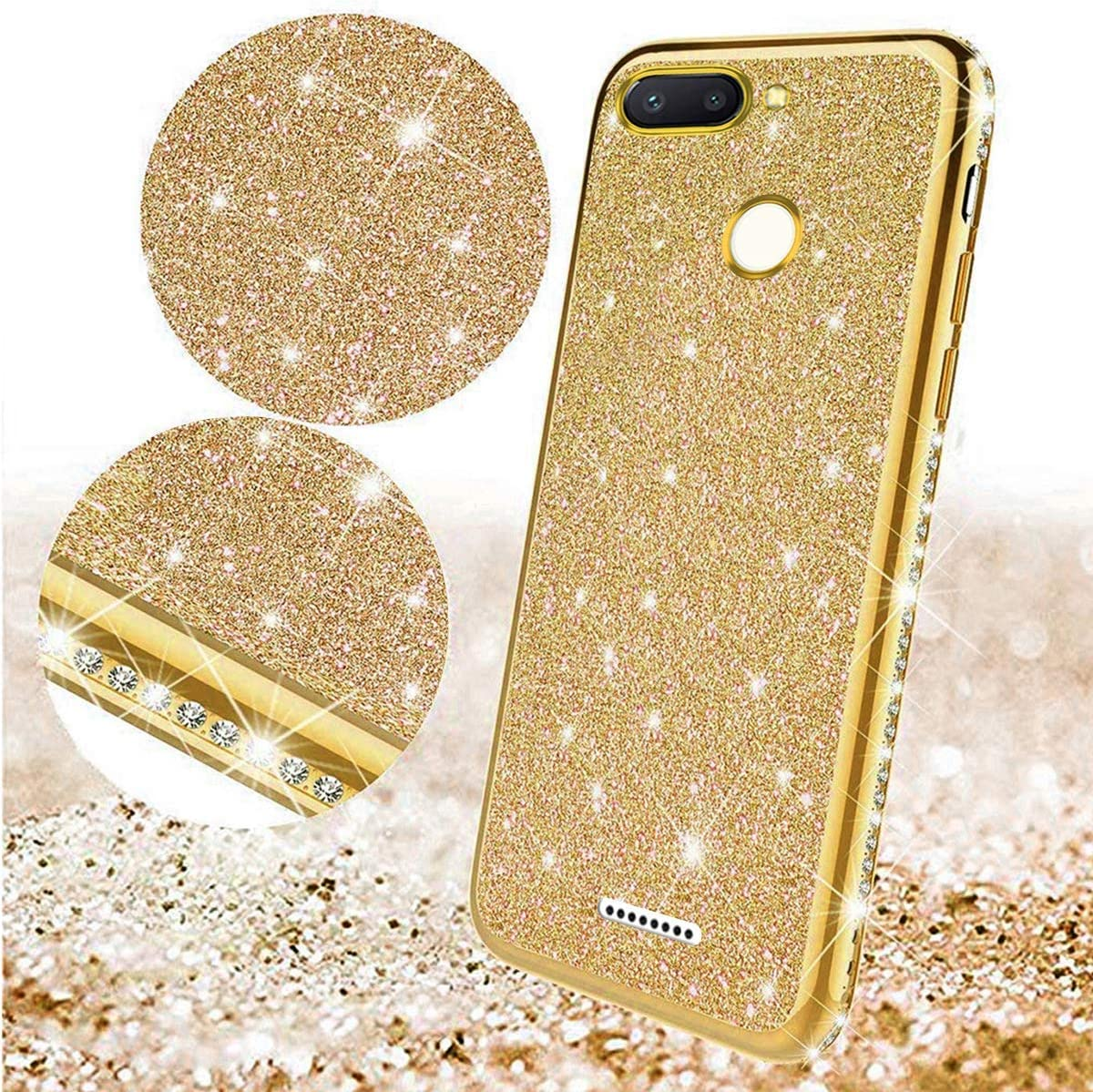 Herbests Compatible with Xiaomi Redmi 6 Case Glitter Cute Girl Women Bling Crystal Diamond Rhinestone Clear Protective Phone Case Cover Shockproof TPU Rubber Silicone Cover,Gold