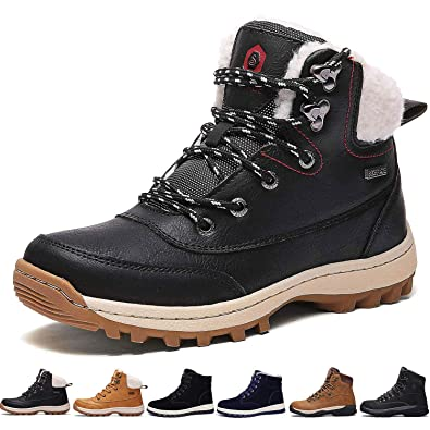 2a2a93d5873e1 Sixspace Bottes Fourrees Femmes Neige Hiver Antidérapant Chaussures de  Chaudes Mode Bottine Hommes en Cuir Boots