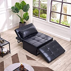 Vonanda Leather Ottoman Sofa Bed, Small Modern Couch Multi-Position Convertible Comfortable and Durable Leather Couch Lounger Guest Bed with Pillow for Small Space, Black