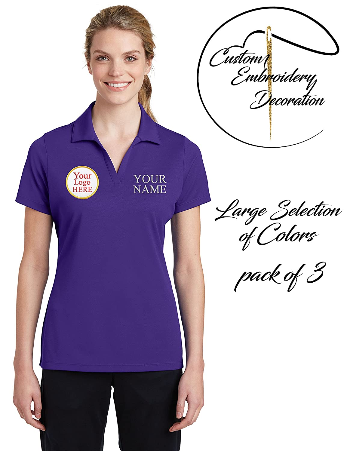 Custom Embroidered Shirts for Ladies Logo /& Name Embroidery Polos 3 Pack