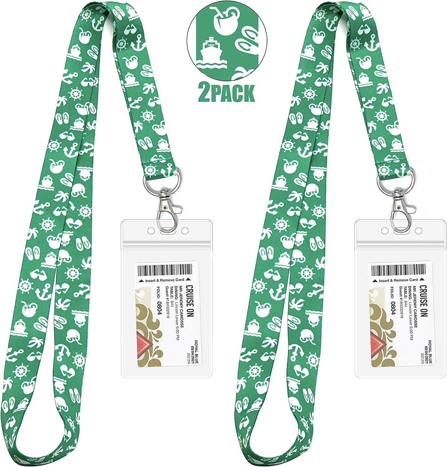 Lanyards for Cruise Key Cards [2 Pack] with Waterproof Key Cruise Card Holder (Green)