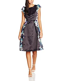 Wolf & Whistle Womens Rose Edge Print Midi Length Prom Dress