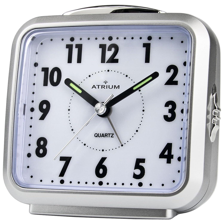 ATRIUM sveglia analogica argento senza Tic Tac), con luce e snooze A250–19 A250-19