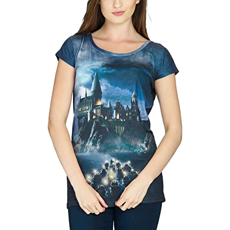 Harry Potter - Camiseta con diseño de Hogwarts para chica, color negro Negro XL