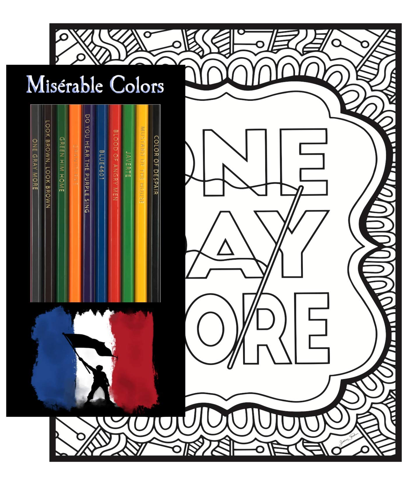 Les Misérables Coloring Gift Set - 12 Musical Themed Colored Pencils and Pack of 4 Coloring Pages by Theatre Nerds