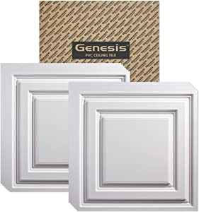 Genesis 2ft x 2ft White Icon Relief Ceiling Tiles - Easy Drop-in Installation – Waterproof, Washable and Fire-Rated - High-Grade PVC to Prevent Breakage - Package of 12 Tiles