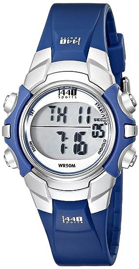 Timex Sports T5J131 - Reloj digital de mujer de cuarzo con correa de goma lila (alarma, cronómetro, luz) - sumergible a 50 metros: Timex: Amazon.es: Relojes