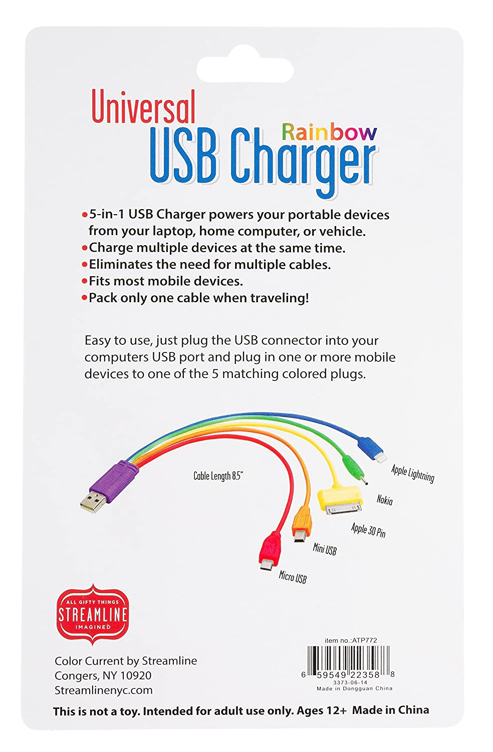 Apple Charger Plug Diagram Detailed Schematic Diagrams Usb Power Cord Wire Amazon Com Universal 5 In 1 Rainbow Cell Phones