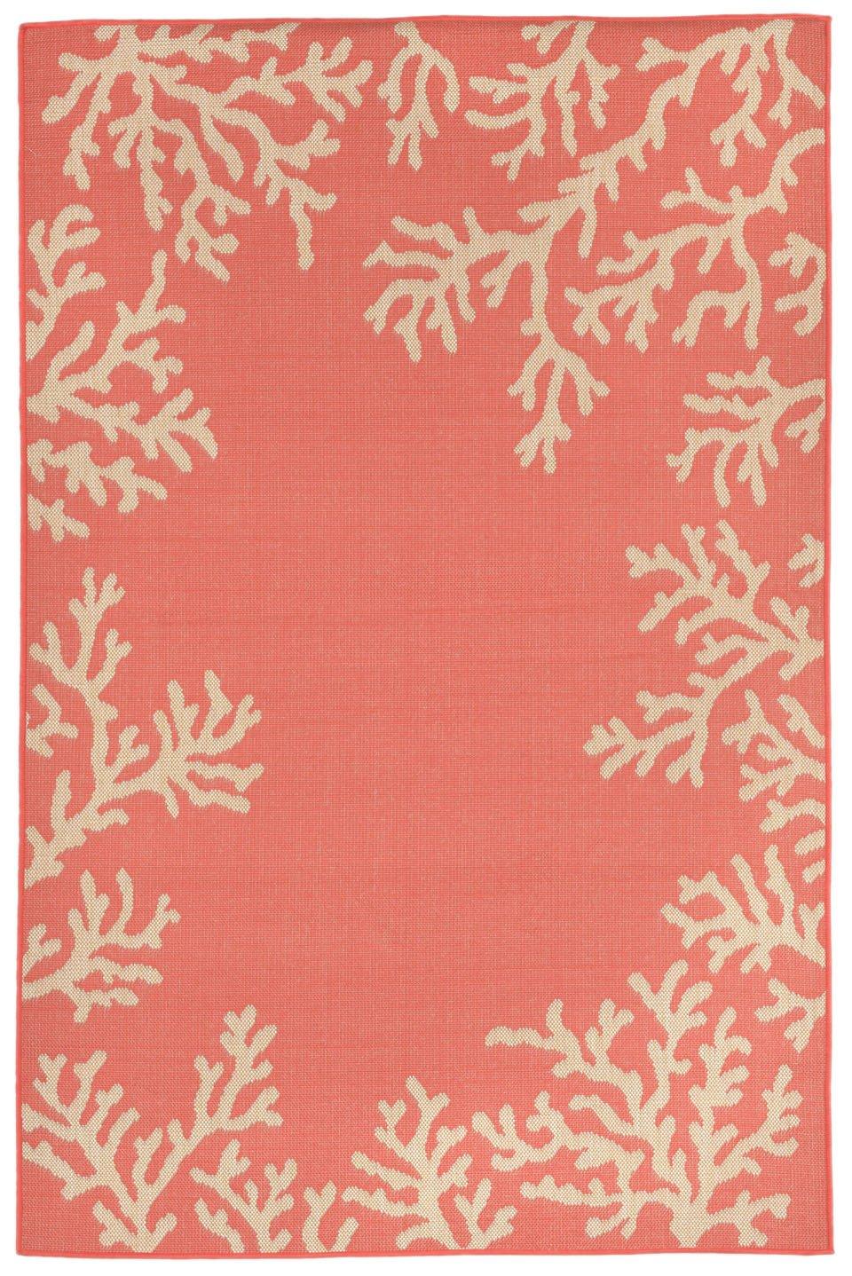 Liora Manne Veranda Staghorn Border Rug, Indoor/Outdoor, 39'' 59'', Coral Orange