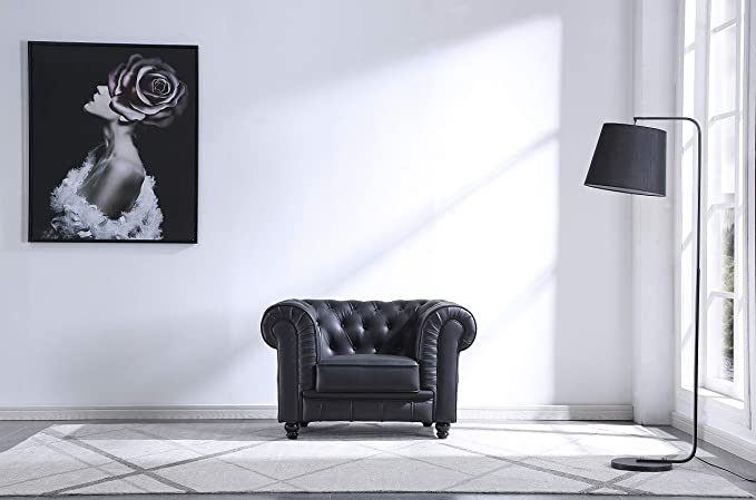 SuenosZzz - Sofa clásico Modelo Chester Color Negro. Sofa Vintage (1 Plaza), tapizado en Piel Sintetica, Botones en Respaldo y reposabrazos   Sofas ...