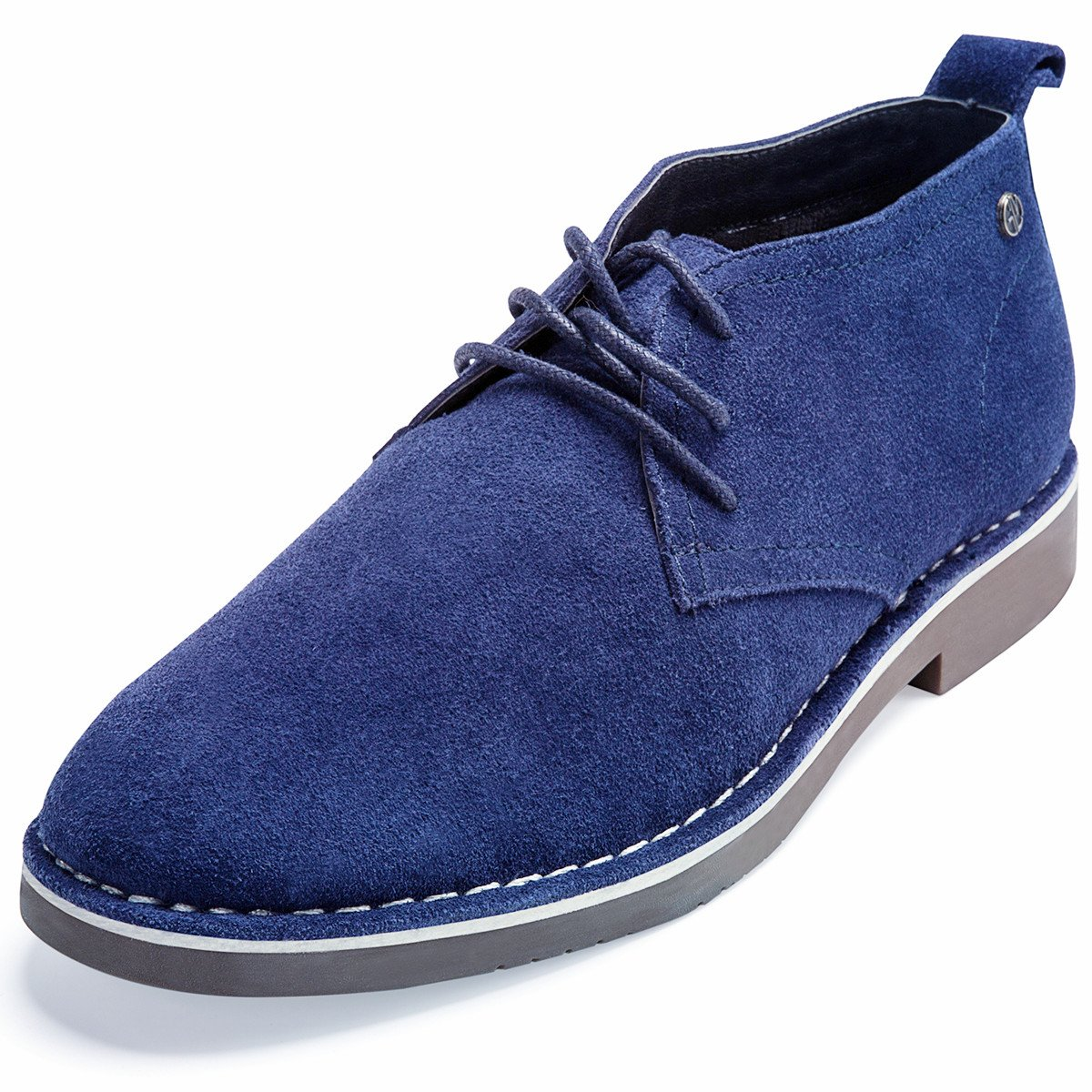 GM GOLAIMAN Genuine Suede Chukka Boots for Men Lace-up Desert Ankle Booties Stylish Leather Shoes Navy 13 D (M) US