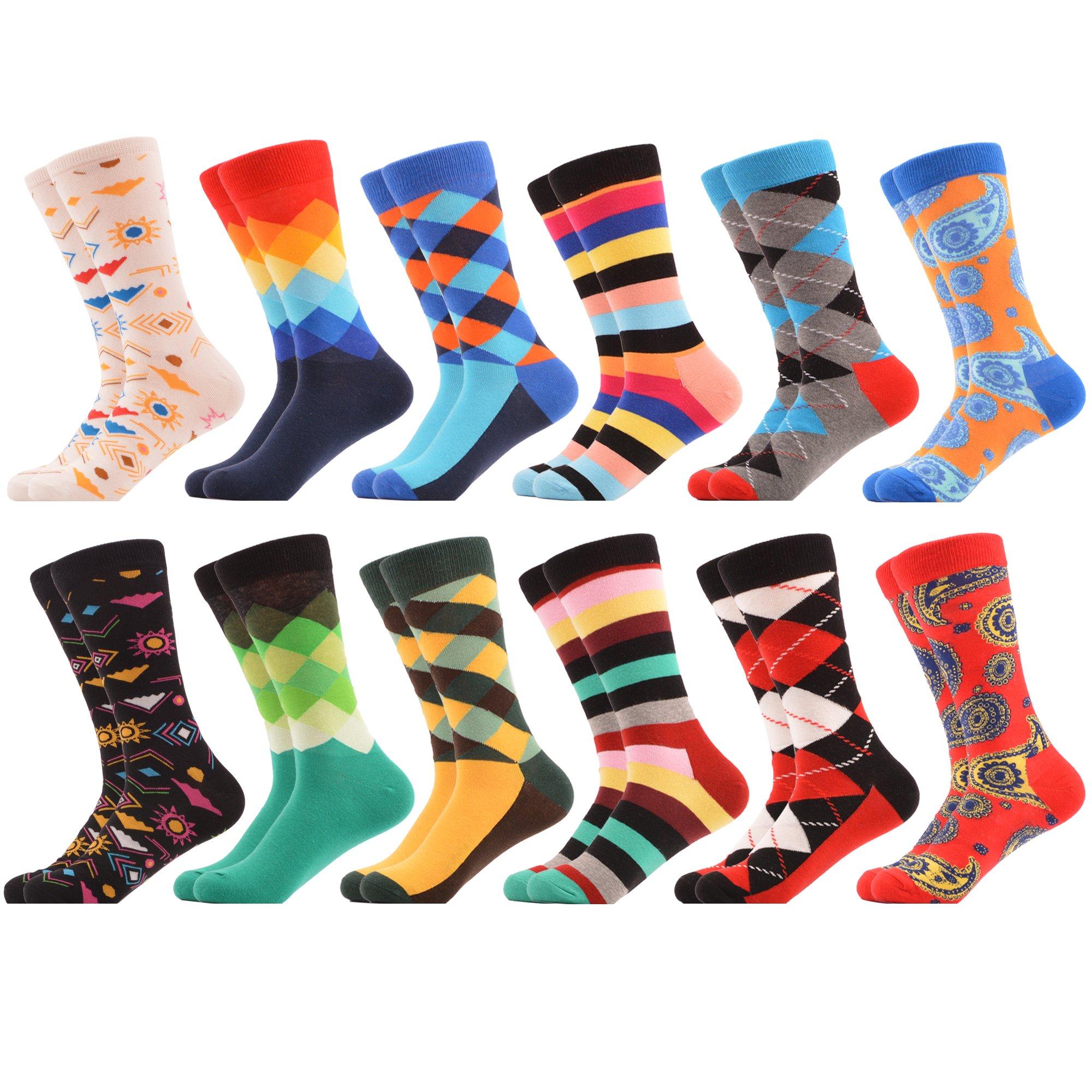 WeciBor Men's Classic Argyle Funny Dress Party Combed Cotton Socks 12 Packs Christmas Gift,052-75,Large, (Unisex US 7.5-12)