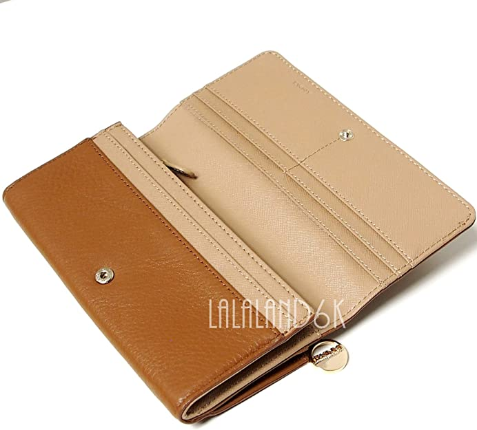 DKNY Womens Soft Ego Leather Wallet with Plaque Caramel