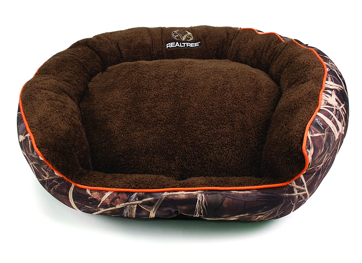 Dallas FOV3630-160.1 Realtree Large Max5 Bolstered Pet Bed, Camo with orange Piping, 36  x 30