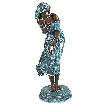 Design Toscano The Windblown Maiden Cast Bronze Garden Statue