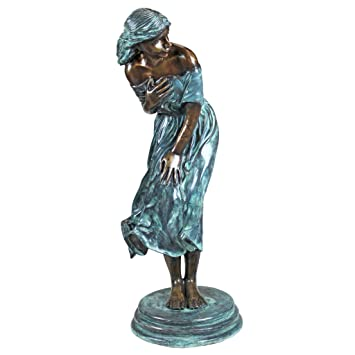 Design Toscano The Windblown Maiden Cast Bronze Garden Statue
