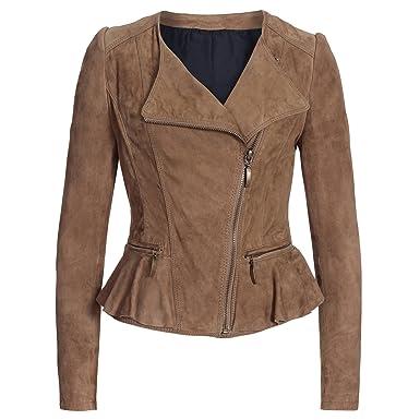 255926956a5 Super Veste en Cuir Veste en Velours de Chèvre Bike Femme Souple Taille XS  à XL
