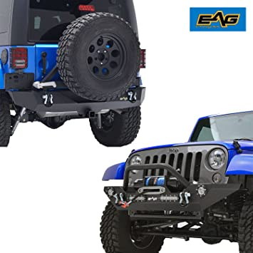 Eag Jeep JK parachoques Combo frontal y parachoques trasero – LED luz – Tire Carrier –