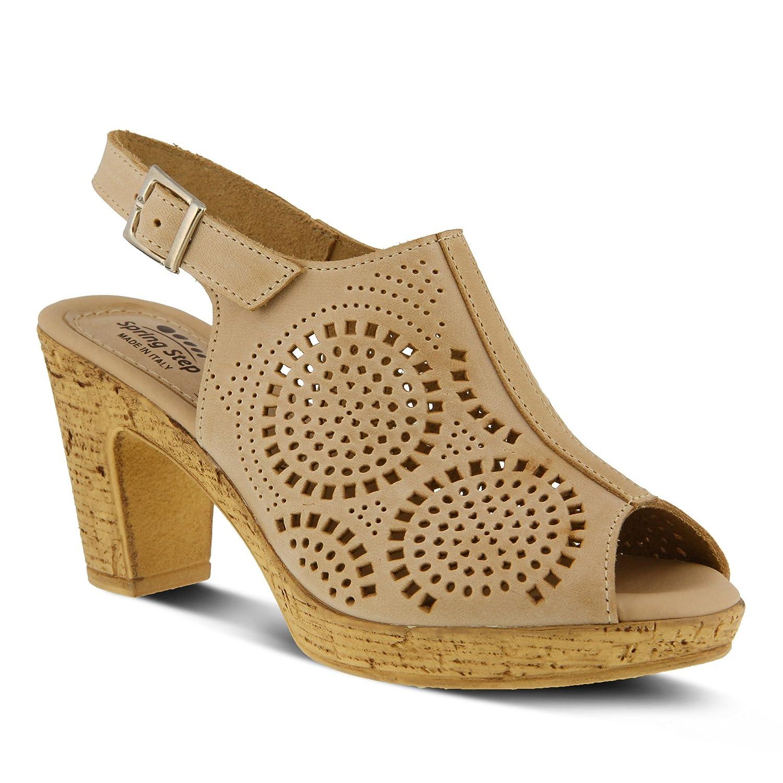 Women's Spring Step Liberty   Color Beige   Rich Colored Laser-Cut Leather Peep-Toe Sandal B0789768P8 37 M EU