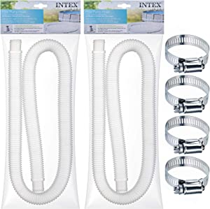 "SEWANTA Replacement Hose for Above Ground Pools [Set of 2] 1.25"" Diameter Accessory Pool Pump Replacement Hose 59"" Long - Filter Pump Hose for Intex Pump Models #607#637. Bundled with 4 Metal Clamps"