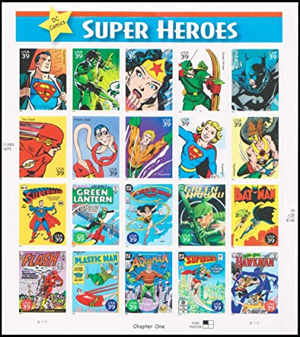 Amazon United States 39 Cent DC Comics Super Heroes Complete Pane Of 20 Postage Stamps Mint Condition Scott 4084 By USPS Toys Games