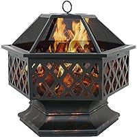 """F2C Heavy Steel Hex Shape 24"""" Fire Pit Bowl Wood Burning Fireplace Patio Backyar Outdoor Heater Steel Firepit"""