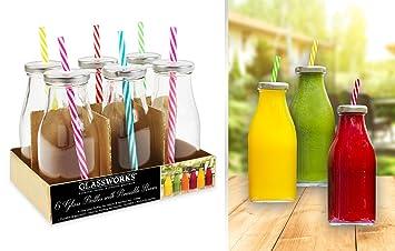 Biberón de vidrio botellas Set de 6 botellas de cristal botellas de leche de cristal Mini