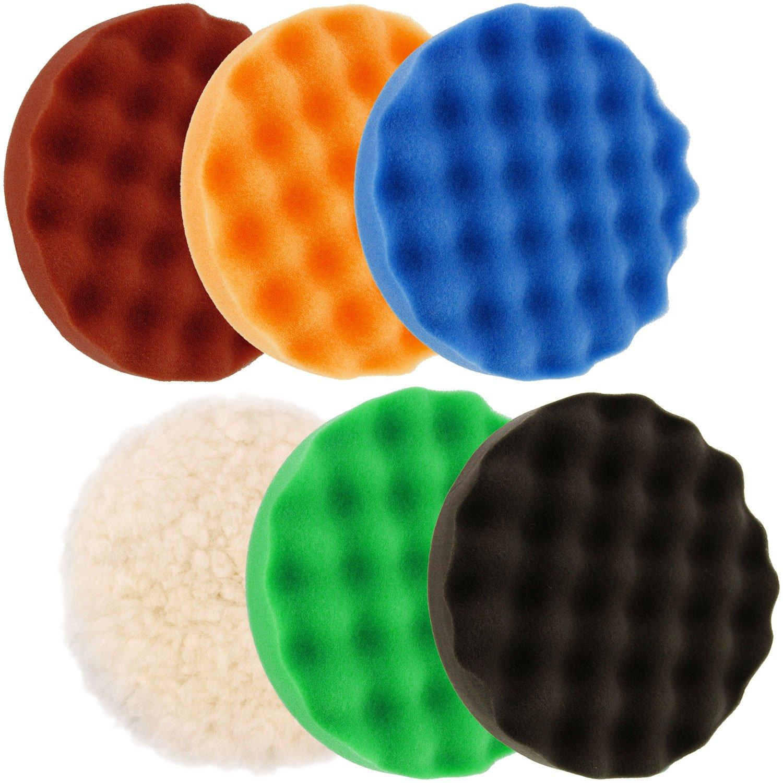 TCP Global 6.7'' 6-Pad Waffle Foam & Wool Polishing Grip Pad Set
