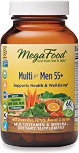 MegaFood, Multi for Men 55+, Supports Optimal Health and Wellbeing, Multivitamin and Mineral Supplement, Gluten Free, Vegetarian, 60 Tablets (30 Servings)