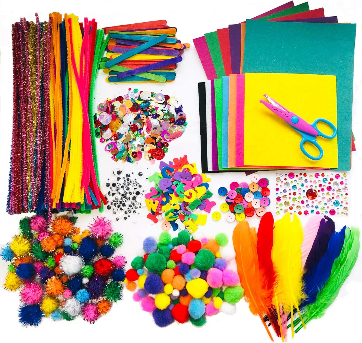Buttons Feathers Ice Cream Sticks Pom Poms Wiggle Googly Eyes Sequins,Little Clip and More Arts and Crafts Supplies for Kids Including Pipe Cleaner