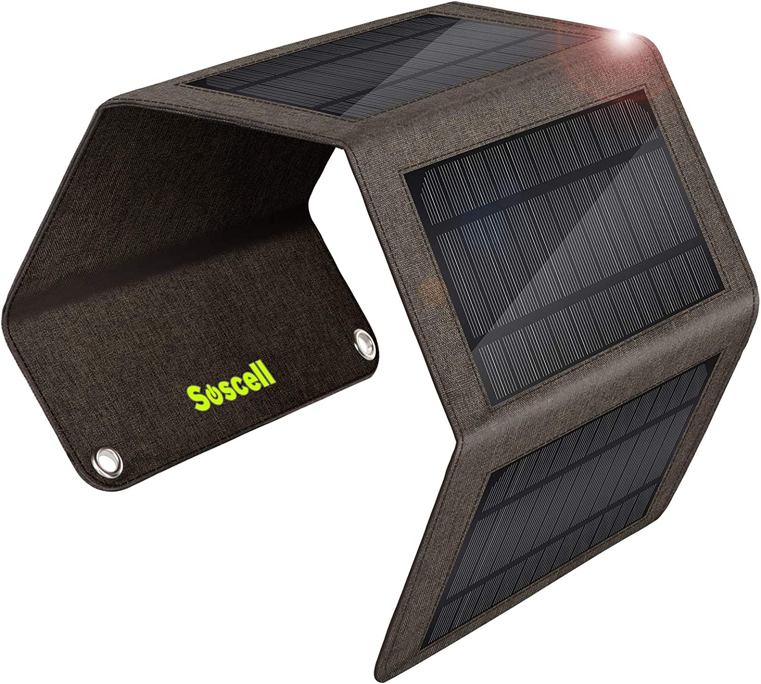 Suscell 7W Solar Charger, Foldable Portable Waterproof Solar Panels Phone Charger, Compatible with iPhone 11/XS/XS Max/XR/X/8/7, iPad, Samsung Galaxy, LG, Google Pixel etc.