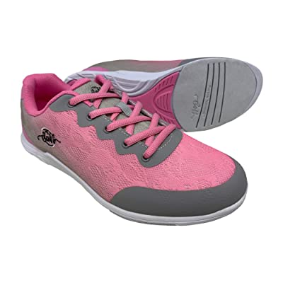 SaVi Bowling Women's Savannah Pink/Grey Mesh Bowling Shoes Ultra Lightweight Lace Up with Universal Soles Suitable for Right or Left Handed Bowlers   Bowling