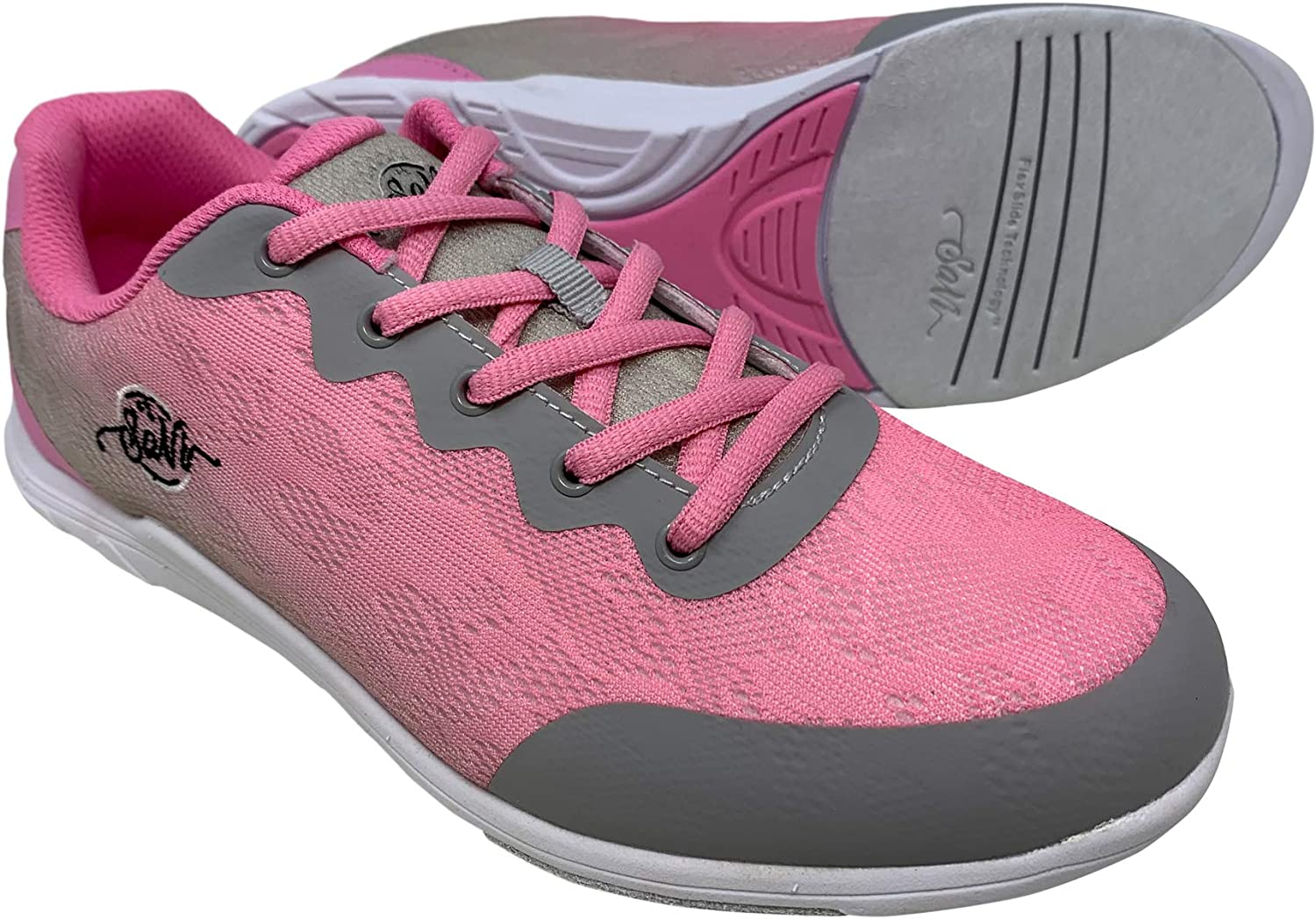 SaVi Bowling Women's Savannah Pink/Grey Mesh Bowling Shoes Ultra Lightweight Lace Up with Universal Soles Suitable for Right or Left Handed Bowlers