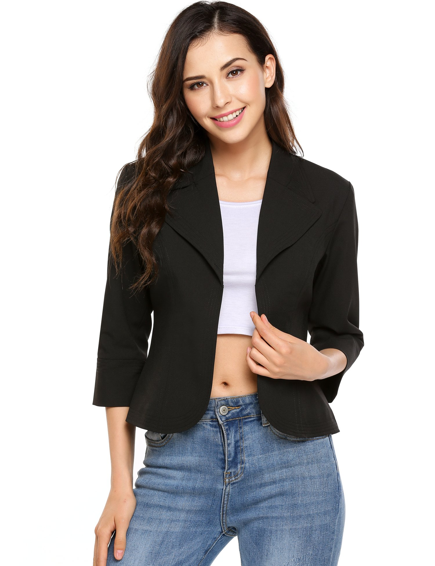 Zeagoo Women's 3/4 Sleeve Christmas Open Front Cardigan Jacket Work Office Blazer