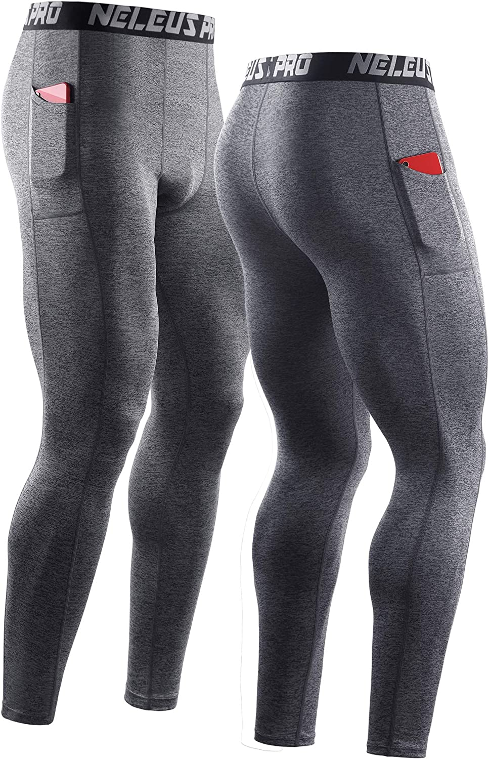 Neleus Mens Dry Fit Compression Baselayer Pants Running Tights Leggings with Phone Pocket