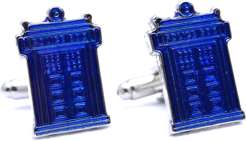 NUOLUX Hommes ronds chemise manchette cadeau bleu et argent