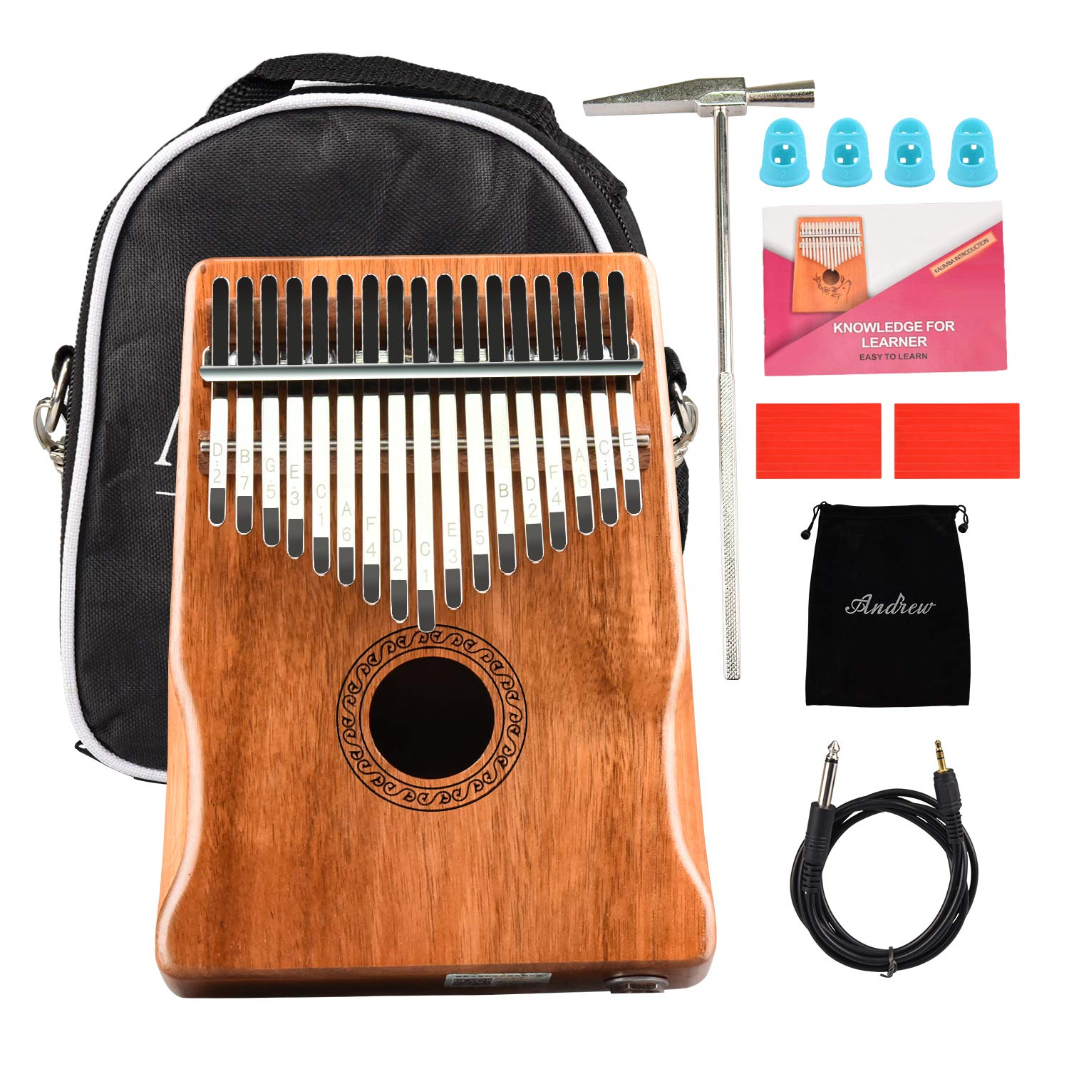 Kalimba Thumb Piano 17 keys Mbira Kit Acacia KOA Electric Finger Music Instrument Bulit-in Pickup with 6.35mm Audio Interface for Beginner Kids by GOMILE