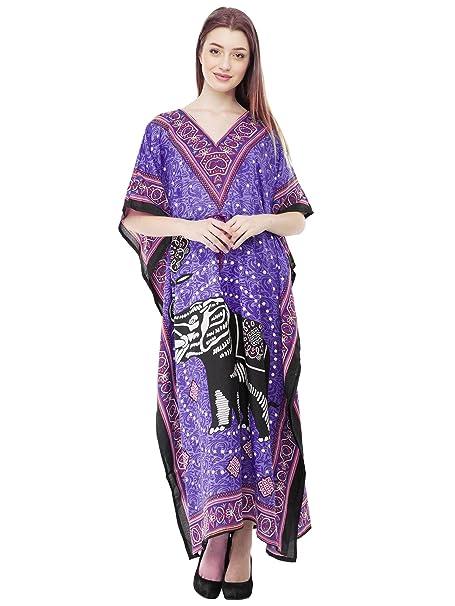 535687ed9f6 SKAVIJ Kaftan Beachwear Cover Up Long Maxi Dress Caftan Nightgown (Blue)  Gifts for Ladies