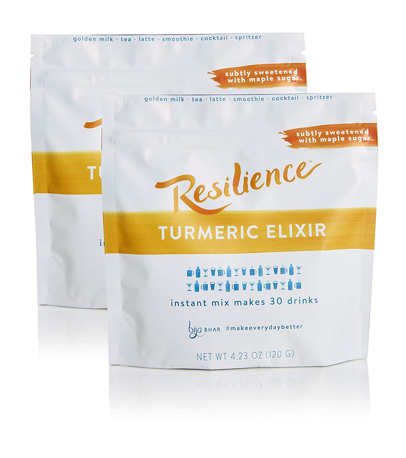 Bija Bhar Resilience Turmeric Elixir, Subtly Sweetened Golden Milk Drink Mix, 30 Servings, 4.32oz Pouch, Pack of 2