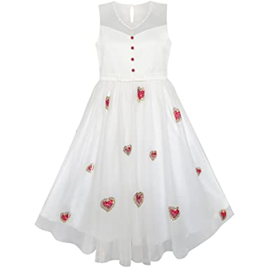 aa6e0dd2be Sunny Fashion Girls Dress Red Heart Sequins Princess Wedding Pageant Age  6-14 Years: Amazon.co.uk: Clothing