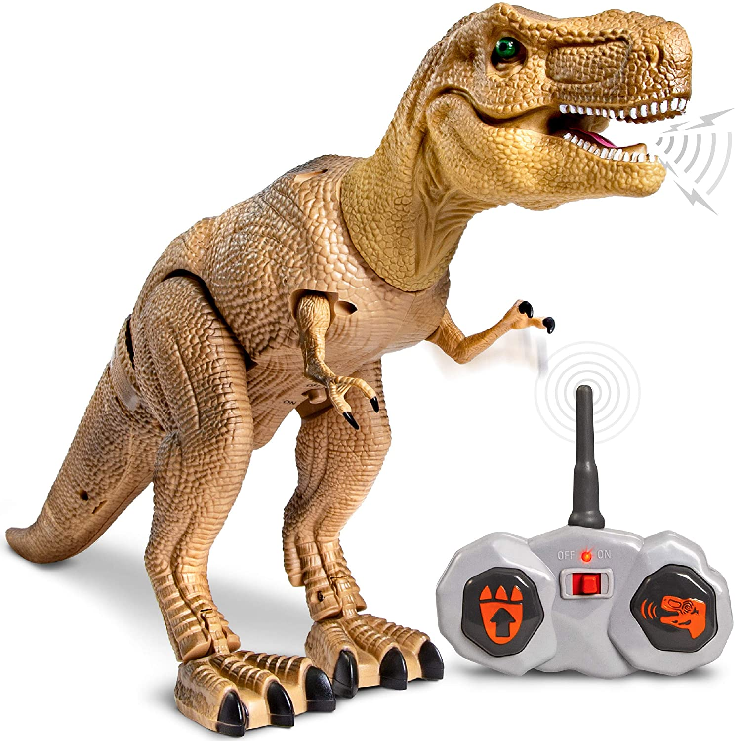 Discovery Kids Remote Control RC T Rex Dinosaur Electronic Toy Action Figure Moving Walking Robot w Roaring Sounds Chomping Mouth Realistic Plastic Model Boys Girls 6 Years Old