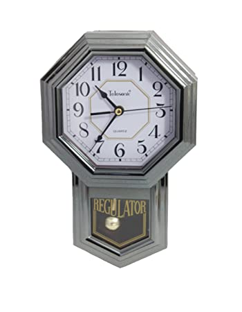 Silver Quartz Pendulum Wall Clock By Telesonic