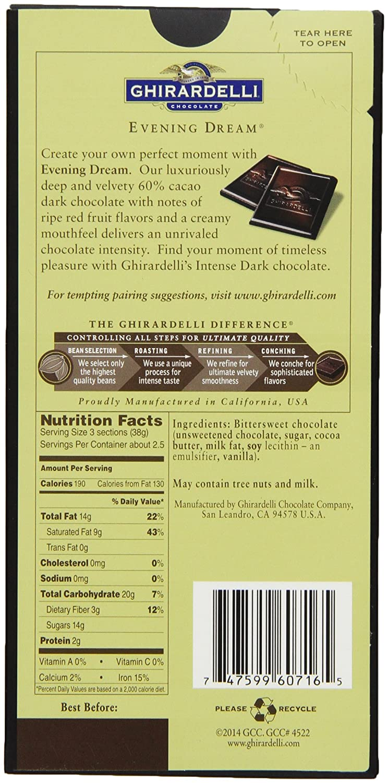 Amazon.com : Ghirardelli Chocolate Intense Dark Bar, Evening Dream ...