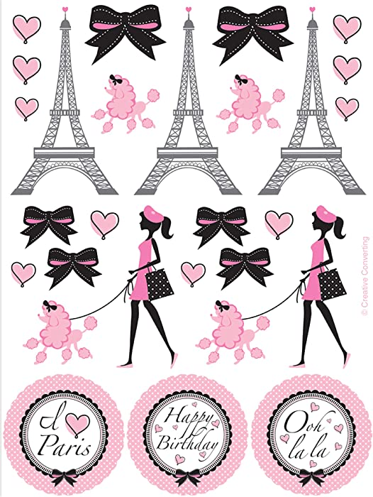Creative Converting Party in Paris Stickers, 4 count (Pack of 1)